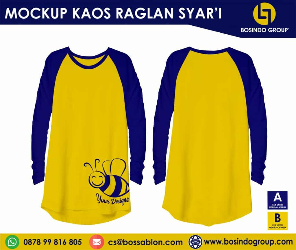 Download mockup Kaos Raglan syari